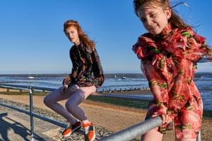 Lulu wears jacket, £395, tibi.com Sneakers, £550, marni.com Willow wears red blouse, £1,210, Gucci brownsfashion.com