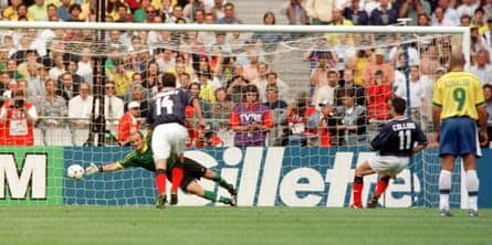 John Collins equalises from the penalty spot against Brazil in the opening game of the 1998 World Cup