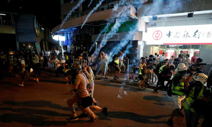 Teargas is fired at protesters in Yuen Long, in Hong Kong's New Territories, on Saturday 21 September