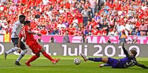 David Alaba slots the ball home to give Bayern back the lead.