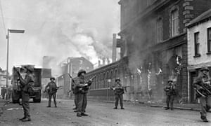 British soldiers on the Falls Road, Belfast, during rioting on 15 August 1969.