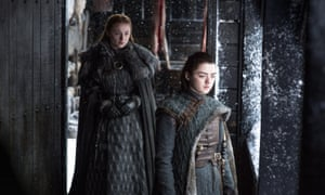 Sophie Turner as Sansa Stark and Maisie Williams as Arya Stark in episode 6.