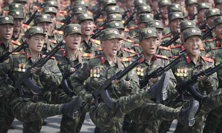 Soldiers march during a military parade in Pyongyang, North Korea, to celebrate the 105th birth anniversary of Kim Il-sung, the country's late founder.