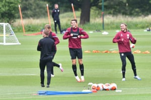 James Tarkowski in training.