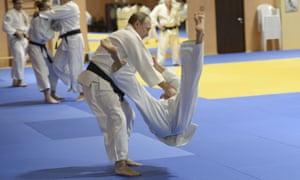 Vladimir Putin training with the Russian national judo team in Sochi, 2016