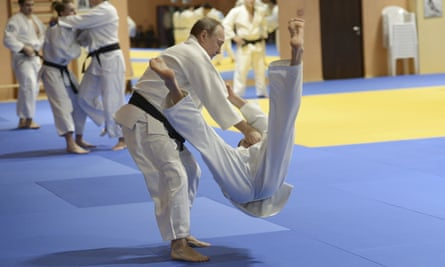 Vladimir Putin training with the Russian national judo team in Sochi, 2016