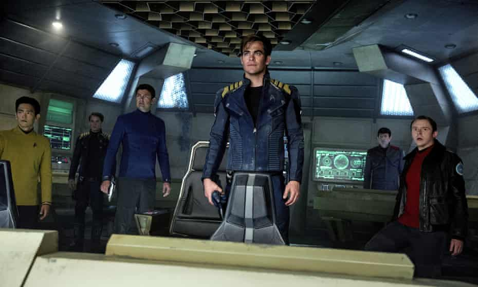 Set phasers to stun … John Cho, Anton Yelchin, Karl Urban, Chris Pine, Zachary Quinto and Simon Pegg in the most recent film in the franchise, Star Trek Beyond (2016).