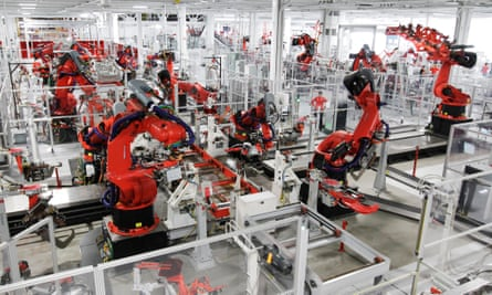 In the driving seat … robots assemble a Tesla Model S car in Fremont, California.
