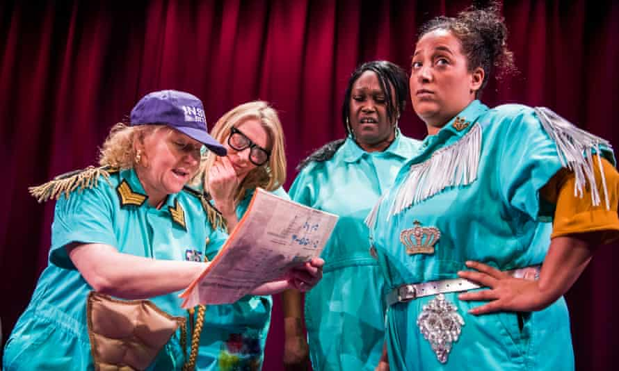 TerriAnn Oudjar, Lucy Edkins, Jennifer Joseph and Jade Small in Inside Bitch at the Royal Court, London.