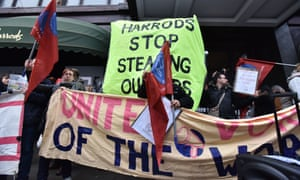 Protestors outside Harrods, London, earlier this monthMandatory Credit: Photo by Matthew Chattle/REX/Shutterstock (7746573s) Protesters outside Harrods in Knightsbridge, protesting about waiters tips. Waiters tips demonstration outside Harrods, London, UK. - 7 Jan 2017.