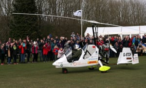 James Ketchell set off on the start of his 23,000-mile journey from Popham airfield in Hampshire.