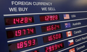 A currency exchange board in London on 4 August 2016