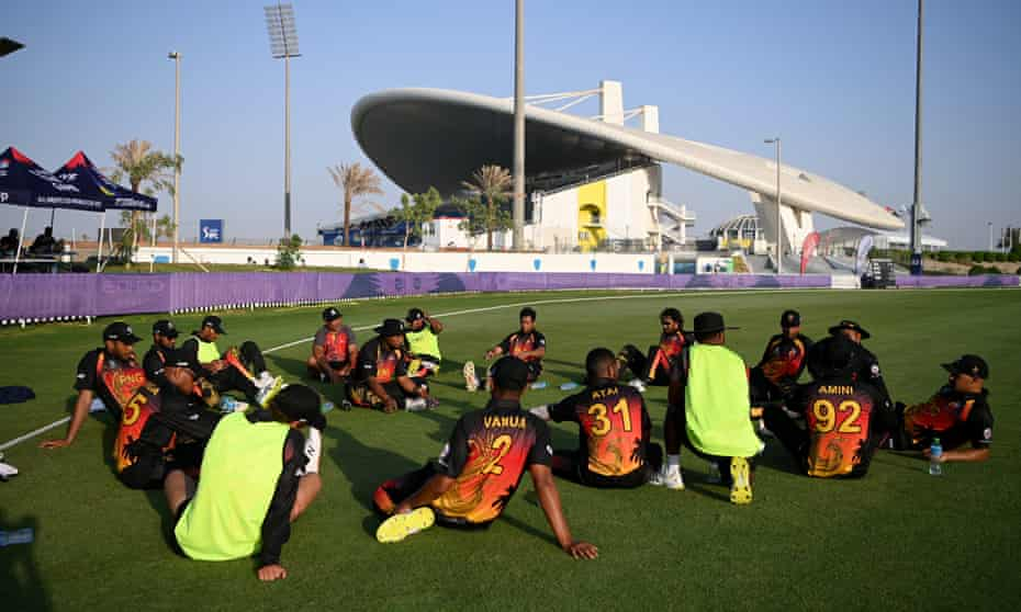 Papua New Guinea cool down after their T20 World Cup warm-up against Ireland.