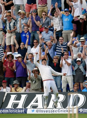 Moeen gets shot of Hazlewood, tossing the ball up and forcing Hazlewood into a big swing. It's up in the air, and who else should be right underneath it but Joe Root. England win!