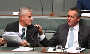 Michael McCormack and Nationals MP Darren Chester, who will be the new minister for veterans' affairs, in parliament on Tuesday.