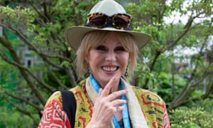 Joanna Lumley at the Chelsea flower show, wearing her sunglasses on her hat