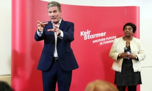 Keir Starmer, watched by Doreen Lawrence, launching his bid to be the next leader of the Labour party in Manchester.