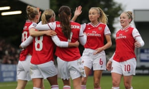 Arsenal celebrate one of the goals that defeated Birmingham City at Meadow Park, home also to Boreham Wood.