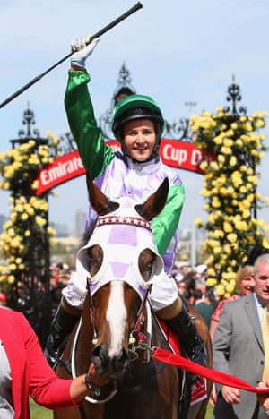 Michelle Payne riding Prince Of Penzance after winning the Melbourne Cup on 3 November.
