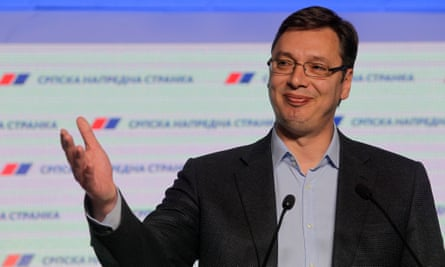 Serbian PM Aleksandar Vucic gestures during a press conference at the SNS party headquarters in Belgrade, Serbia, 24 April 2016.