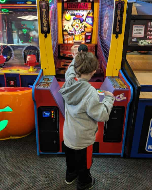 Catholdi-Dow's son enjoying arcade games.