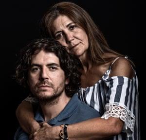 Luis Ahijado (39) and his mother Paloma Roque Morales (55) Survivor of 11-M Terror Attack in Madrid (Luis) and victim of T4 Terror attack at Madrid Airport in 2006. Madrid, Spain