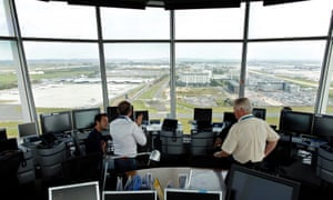 Air-traffic controllers at the Charles de Gaulle international airport in Roissy, near Paris.