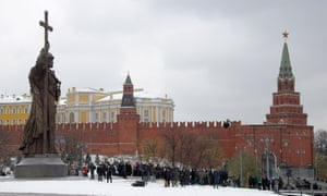The 17-metre monument stands just outside the gates to the Kremlin.