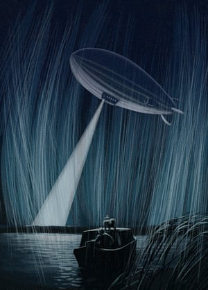 The zeppelin was turning around ahead of them, its searchlight probing the rain and the dark marsh gloom below it.