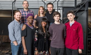 The Cursed Child cast … Back row, left to right: James Howard, Emma Lowndes and Jamie Glover. Front row, left to right: Thomas Aldridge, Rakie Ayola, Helen Aluko, Theo Ancient and Samuel Blenkin.