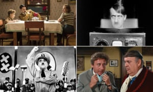 Clockwise: Jojo Rabbit, They Saved Hitler's Brain, The Producers and The Great Dictator.
