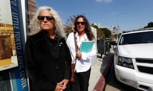 Wolfe and Randall, sisters of the late Randy California, leave federal court in Los Angeles.