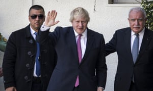 The foreign secretary, Boris Johnson, visited the West Bank and Israel last week.