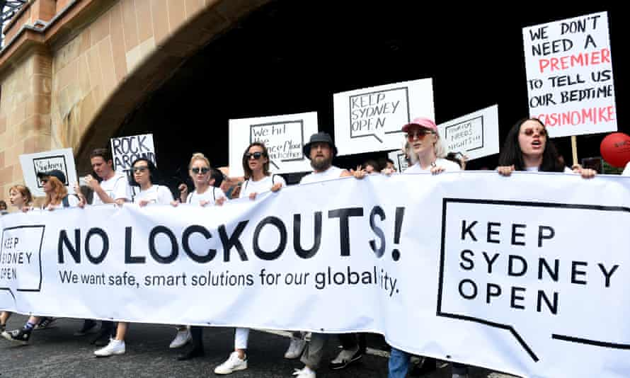 Demonstrators take part in protest rally against the Sydney lockout laws in 2016. The laws have now been almost entirely scrapped.