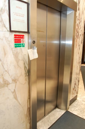 The ground floor lift with an out of order sign