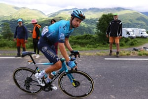 Jakob Fuglsang of Denmark and Team Astana looking knackered on Stage 17 on July 14.