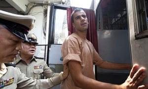 Hakeem al-Araibi leaves the criminal court in Bangkok on Monday.