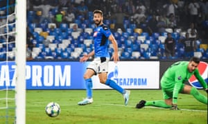TOPSHOT-FBL-EUR-C1-NAPOLI-LIVERPOOL<br>TOPSHOT - Napoli's Spanish forward Fernando Llorente (L) scores past Liverpool's Spanish goalkeeper Adrian (R) during the UEFA Champions League Group E football match Napoli vs Liverpool on September 17, 2019 at the San Paolo stadium in Naples. (Photo by Andreas SOLARO / AFP)ANDREAS SOLARO/AFP/Getty Images