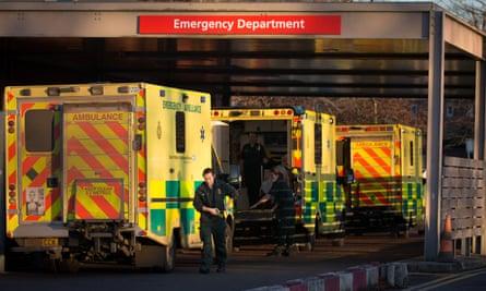 Ambulances queue outside A&E