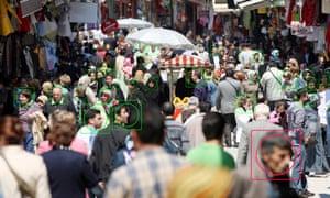 Face detection, surveillance, camera image, face tracking, symbolic image,P6H05G Face detection, surveillance, camera image, face tracking, symbolic image,