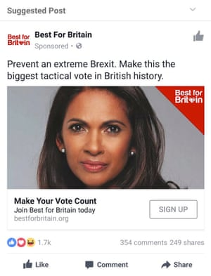 An example of a sponsored post promoting a tactical voting initiative against hard Brexit.