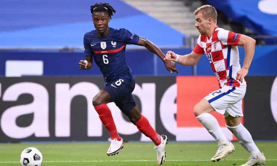 Eduardo Camavinga (left) in action for France against Croatia last September, when he became the country's youngest debutant since 1914.