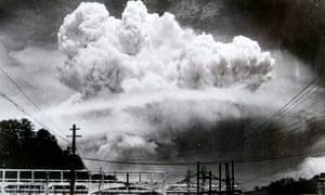 The mushroom cloud over Nagasaki in August 1945.