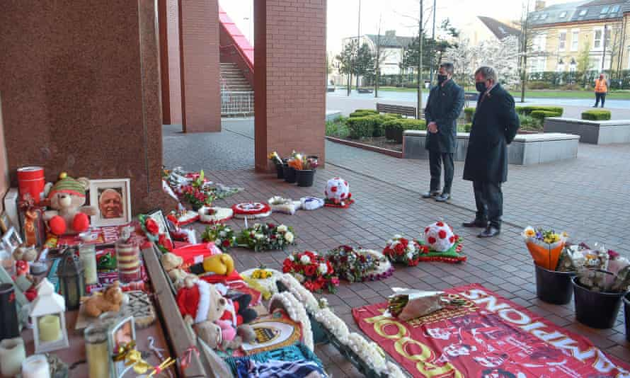 Liverpool chief executive Billy Hogan and Sir Kenny Dalglish at the Hillsborough memorial at Anfield on the 32nd anniversary of the disaster.