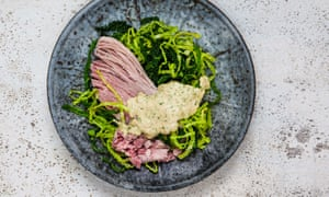 Richard Corrigan's boiled ham with cabbage and parsley sauce.