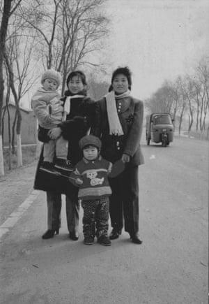 Karoline Kan's mother (right), aunt (left), cousin and Karoline near her grandparent's village. Early 1990s