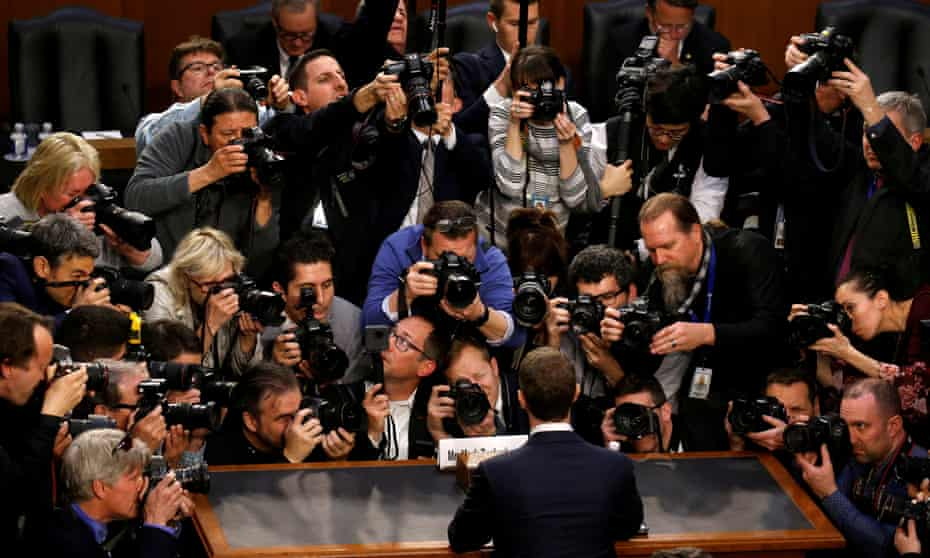 Mark Zuckerberg at the Senate judiciary and commerce committees joint hearing regarding the company's use and protection of user data.