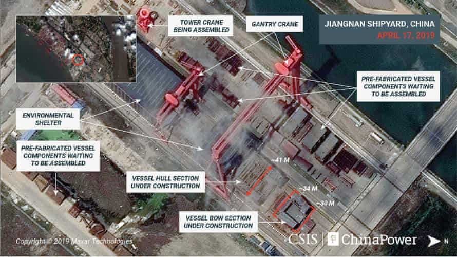 A satellite image shows what appears to be the construction of a third Chinese aircraft carrier at the Jiangnan shipyard in Shanghai on 17 April.
