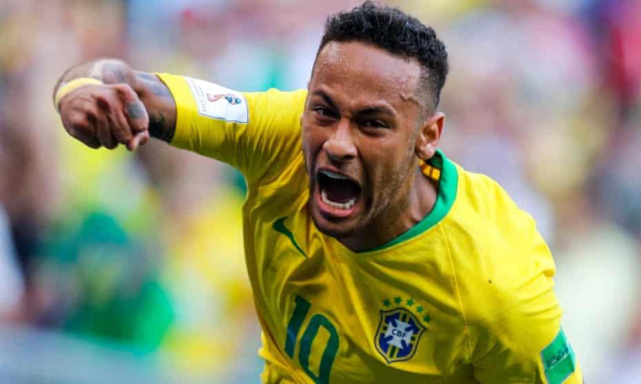 Neymar celebrates after opening the scoring for Brazil