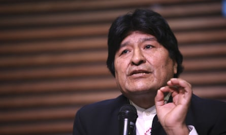 Evo Morales on 21 February 2020. Morales, who now lives in Argentina, himself faces terrorism charges relating to an alleged phone call in November 2019 where authorities claim he urged protesters to blockade Bolivia's de facto capital, La Paz.